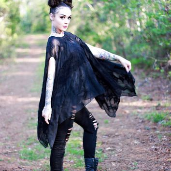 Black boho poncho, bohemian festival poncho tunic, True Rebel Clothing