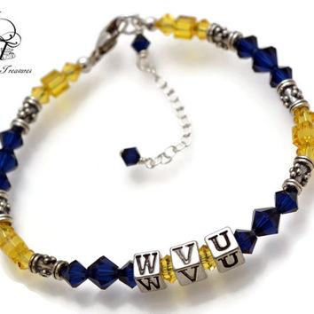 WVU Bracelet, West Virginia University, WVU Bracelet, Mountaineers Bracelet, Mountaineers Jewelry, WV Jewelry, Football Jewelry