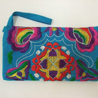 Handmade Blue Embroidery Applique Bag Chinese by dermusensohn2000