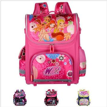 VONG2W Orthopedic Children School Bags For Girls New 2016 Kids Backpack Monster High WINX Book Bag Princess Schoolbags Mochila Escolar