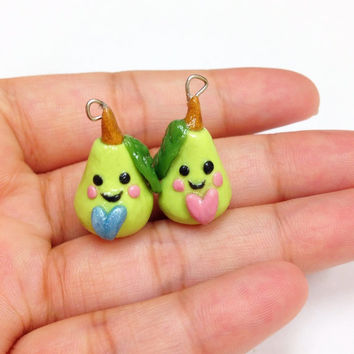 His and Hers Green Pear Polymer Clay Charm inspired by the pun We make a great pear, funny gift for boyfriendd, husband, wife, girlfriend