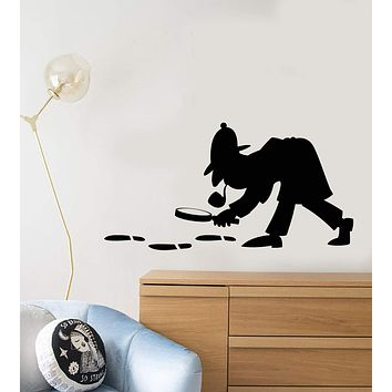 Vinyl Wall Decal Sherlock Holmes Detective Sleuth Policeman Stickers Unique Gift (895ig)