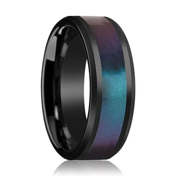 Black Ceramic Ring - Blue Purple Color Changing Inlay - Ceramic Wedding Band - Beveled - Polished Finish - 6mm - 8mm - 10mm