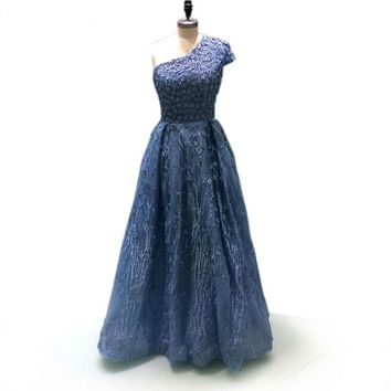 Lace Embroidery Beading Formal Gown Tulle 3D Flower Blue A-line Evening Dress