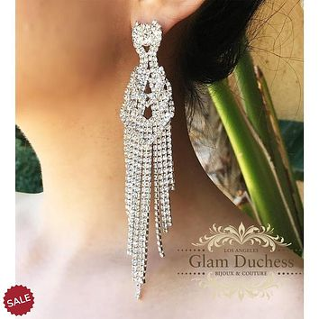 Classic Hollywood Chunky Rhinestones Silver Bridal Earrings