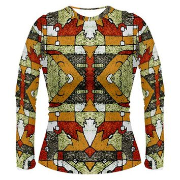 Multicolored Tribal Print Long Sleeve T-shirt (Women)