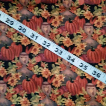 Halloween fabric with turkeys pumpkin Fall Thanksgiving cotton quilt print quilters material sewing project BTY crafting sewers sew