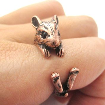 Realistic Hamster Gerbil Guinea Pig Shaped Animal Wrap Around Ring in Copper | US Sizes 4 to 8.5