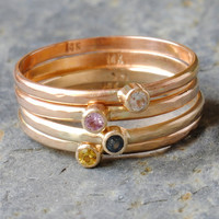 Stacking Ring Set Four Genuine Sapphires in by DalkullanJewelry