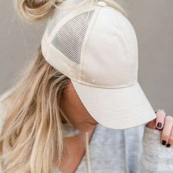 Messy Bun Baseball Hat - Beige