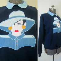 1980s Appliqued Fashionista Sweatshirt