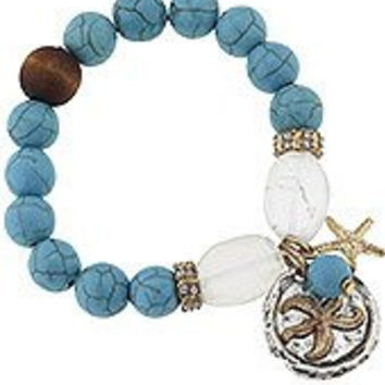 Starfish Stretch Bracelet. Worn Gold/silver Ox Plating Teal, Wood, and Clear Frosted Sea Glass, Rhinestone Rondelle Accents 2-tone Artisan Charm Cluster; 1 Size Fits Most