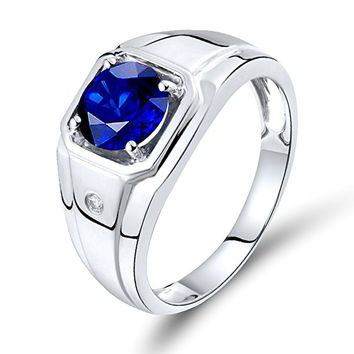 Men Sapphire Ring 14Kt White Gold Natural Diamond Sapphire Engagement Ring