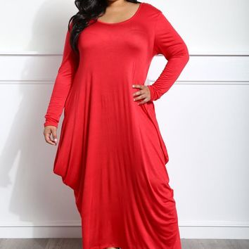Red Flowy Draped Long Sleeves Plus Size Midi Dress