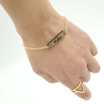 Personalized Custom Dainty Wood Bar Engraved Name Gold Chain Bracelet Unique Gift for Her