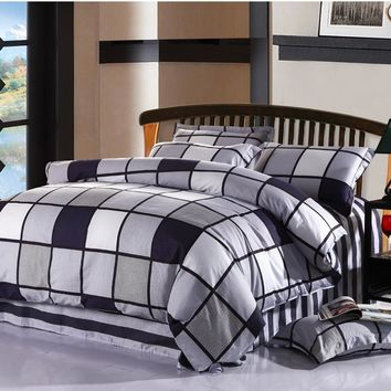 100%Cotton 4Pcs King Queen Full Twin Size Black White Plaid Bedding sets kids boys girls bed sheet set fit sheet Duvet cover
