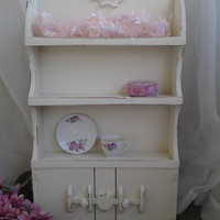 Shabby Chic Vintage Hutch Shelf Handpainted Ivory Shabby Distressed Roses Vintage Farmhouse