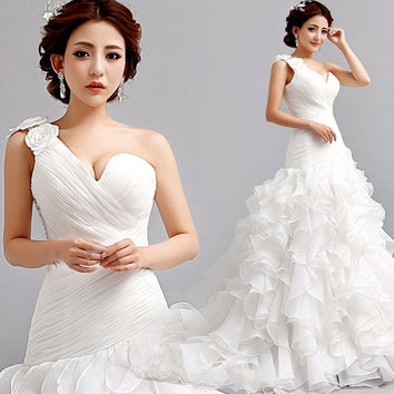 Sweet sexy shoulder Princess Bride Wedding Dress mermaid dress 2015 new = 1929853188