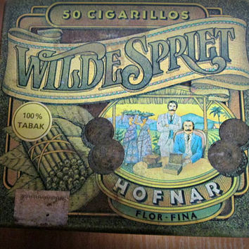 Vintage Wilde Spriet Hofnar Flor Fina Metal Box, Collectible, Cigar, Cigarillos Box, Storage