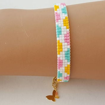 Beaded bracelet, miyuki bracelet, loom beaded bracelet, pulsera, friendship bracelet, birthday gift, seed beads bracelet, gold