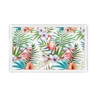 Flamboyant Flamingo Tropical nature garden pattern Serving Tray