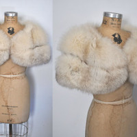SILVER Fox Fur Stole / Capelet / bridal wedding