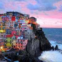 Cinque Terre photograph - Manarola photo Italy Italian sunset coast ocean Mediterranean colorful village breaking waves -- ita0009