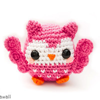 cute pink owl amigurumi plush doll toy