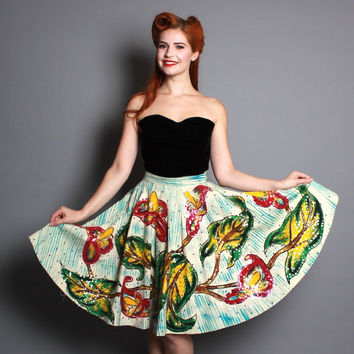 50s Mexican Circle SKIRT / Handpainted Flowers & Sequins, m