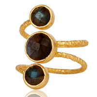 Labradorite 925 Sterling Silver Prong Set Joint Ring with 18k Gold Plated