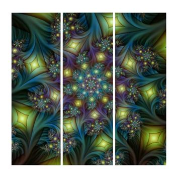 Illuminated modern blue purple Fractal Pattern Triptych