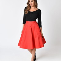 1950s Style Red Cotton Swing Skirt