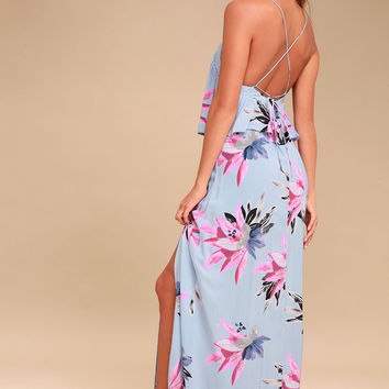 Milly Periwinkle Blue Floral Print Maxi Dress