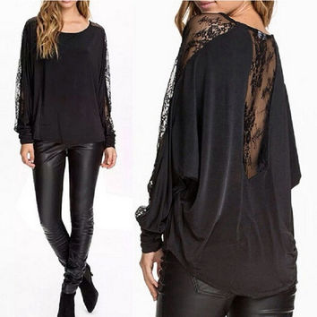 Black Hot Batwing Sleeve Lace Patchwork T Shirt Sexy Women's Fashion Blouses Casual Tops Tees = 1946477060