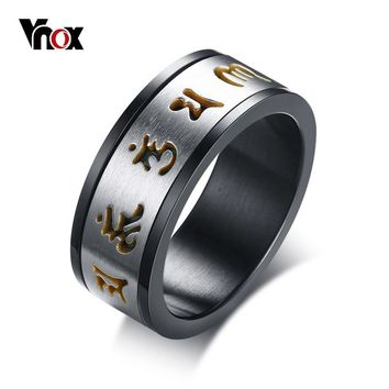Vnox 8mm Rotatable Six Words Mantra Ring For Men Stainless Steel Spinner Stylish Male Wedding Band Casual Gentleman Jewelry