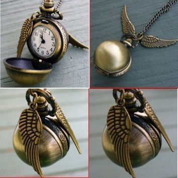 Newest Harry Potter Snitch Watch Pendant Necklace Steampunk Quidditch Wings Clock Gift for kids Cosplay Creative gifts-Christmas gifts