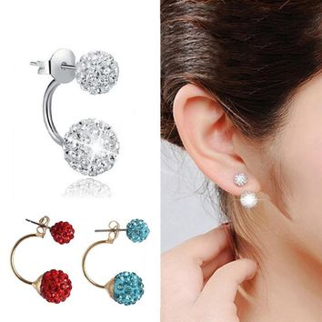 2018 Fashion Trend Crystal Stud Earring Double Sided Beads Ball Earrings Ear Stud Gift Women Jewelry Personality Classic E1775