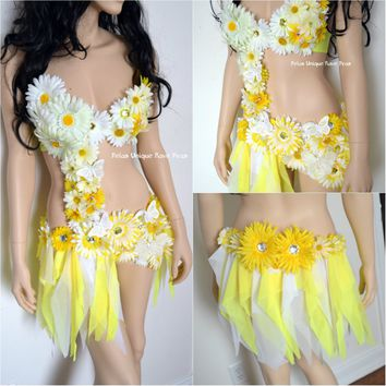 Summer Yellow and White Daisy Fairy Monokini Costume