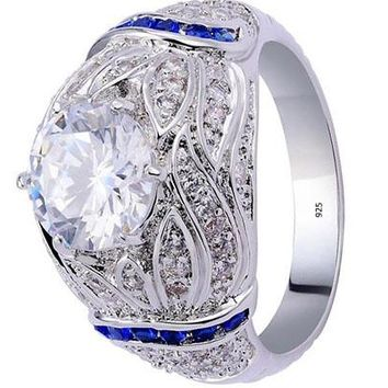3.9CT Round Created Blue Sapphire Topaz White Gold Plated Engagement Ring