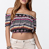 LA Hearts Short Sleeve Off-The-Shoulder Cropped Top at PacSun.com