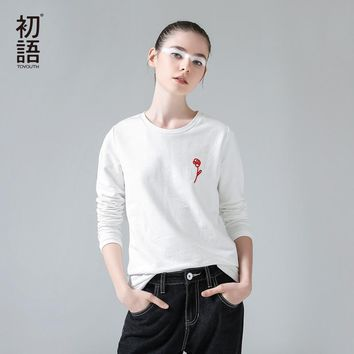 Toyouth T-Shirts 2017 Spring Women Flowers Weaving Embroidery O-Neck Casual Long Sleeve Tees Tops
