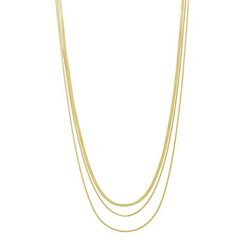 Long Mixed Gold Tone Chain Necklace - 3 Chains 36""