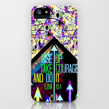 RISE UP TAKE COURAGE AND DO IT Colorful Geometric Floral Abstract Painting Christian Bible Scripture iPhone & iPod Case by The Faithful Canvas