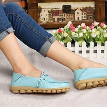 New 2015 vintage women flats genuine leather shoes woman candy color boat shoes breathable fashion flat shoes tenis moccasins = 1932347268