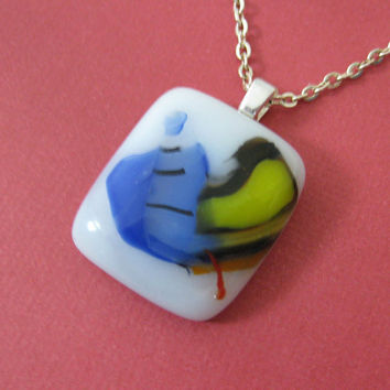 Banana Split - A Mini Fused Glass Pendant and Necklace, Blue, Yellow, White - 3469