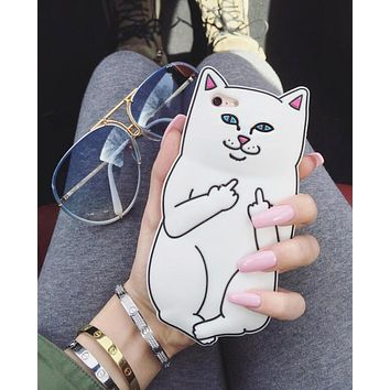 """""""RIPNDIP"""" Trending Women Stylish Lovely Cartoon Middle Finger Silicone Soft Mobile Phone Cover Case For iphone 6 6s 6plus 6s-plus 7 7plus 8 8plus White"""