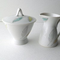 Rosenthal Germany Cream and Sugar Set with Colorful Leaves Design