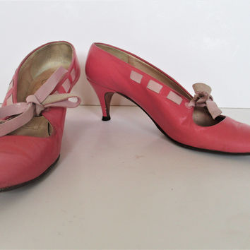 Pink Leather Women | Vintage 1940s Era, 6.5/7, Pumps, Pink Shoes Women, Woman Leather Heels, Costume Shoes Women, Vintage Shoes Women