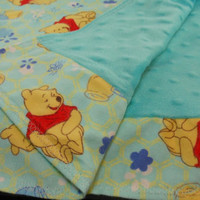 Pooh Bear Flannel and Minky Dot Baby Blanket, in neutral colors for boys or girls