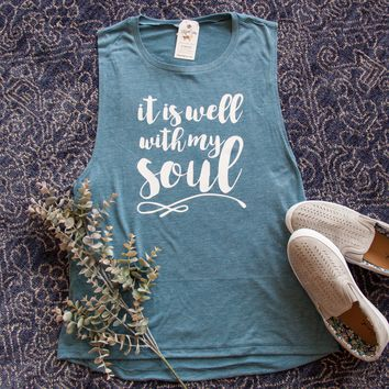 It is Well with My Soul Ladies Muscle Tank